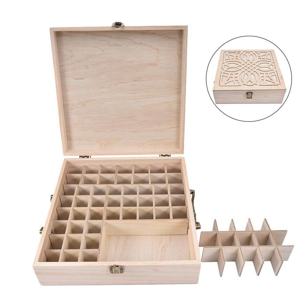 62 Slot Wooden Oil Bottle Box Aromatherapy Essential Organizer Wood Storage Case