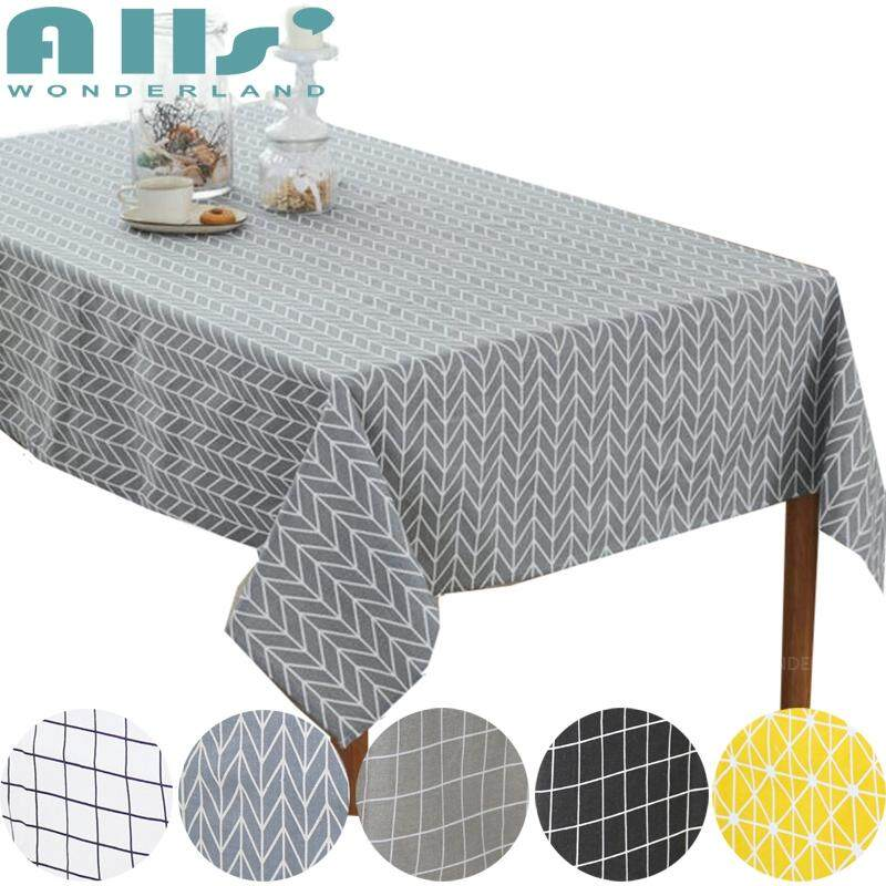 225 & 【Table Cloth】Cotton and Linen Table Cloth Dustproof Rectangle Table Cover Slip Resistant Simple Plaid Ins Style Multiple Sizes