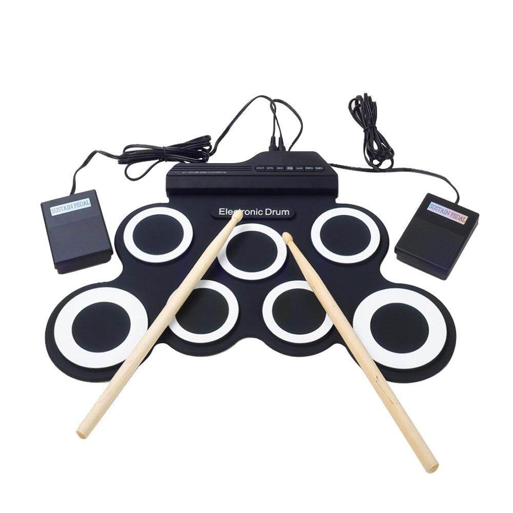 Bumblebaa Portable Electronic Roll Up Drum Pad Instrument Gift Kit Silicon  Foldable with Stick