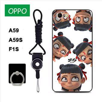 Untuk OPPO A59/OPPO A59S/OPPO F1S Case Telepon Lembut Silikon Pelindung Belakang Bergambar Casing Karet dengan Tali & Cincin 3in1 Q4 波妞