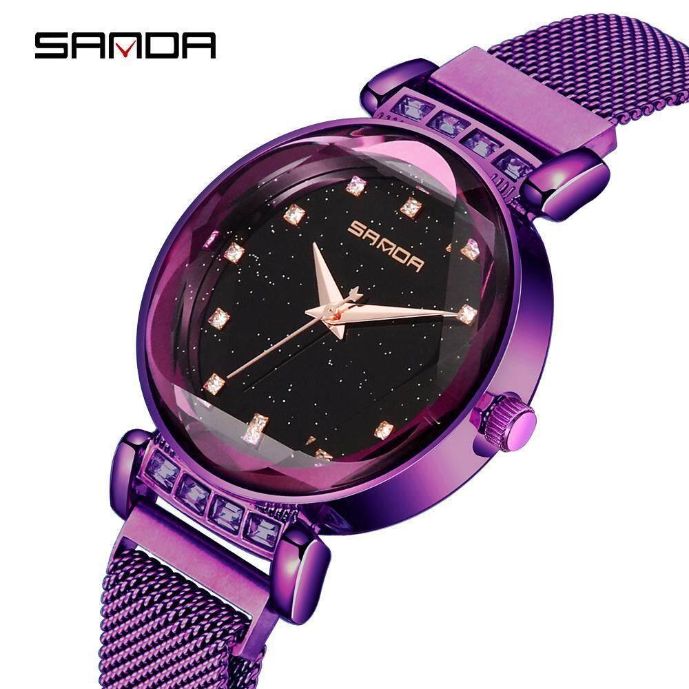 773c2debeca8 Original SANDA P248 Luxury Milan Mesh Magnet Clasp Stainless Steel Band  Quartz Romantic Diamond Women Watch
