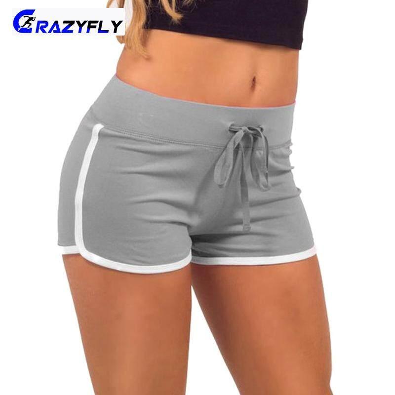 9b143e956 Crazyfly Wanita Wanita Katun Celana Pendek Olahraga Pinggang Tengah  Elastisitas untuk Musim Panas Pantai