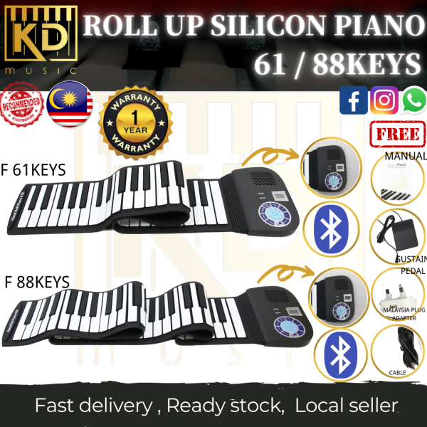 HAND ROLL UP SILICONE PIANO BR-F61 KEYS AND BR-F88 KEYS (BLUETOOTH) + SUSTAIN PEDAL Malaysia