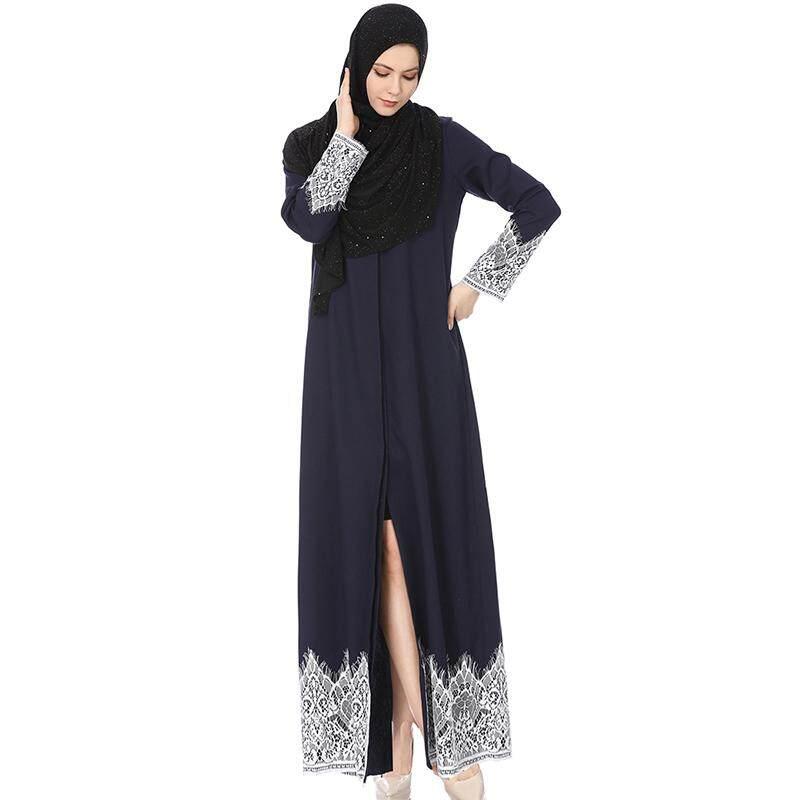 f528f1ada9d0 NINGMI 2019 New Women Lace Embroidery Muslim Dress Abaya Caftans Long Islamic  Skirts Muslim Tunic Modest