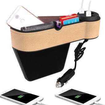 Wincoo รถที่นั่ง Gap FILLER, พรีเมี่ยมรถหนัง PU ที่นั่งด้านข้างกระเป๋าจัดระเบียบรถกล่องเก็บของถ้วย 2 USB เครื่องชาร์จ-