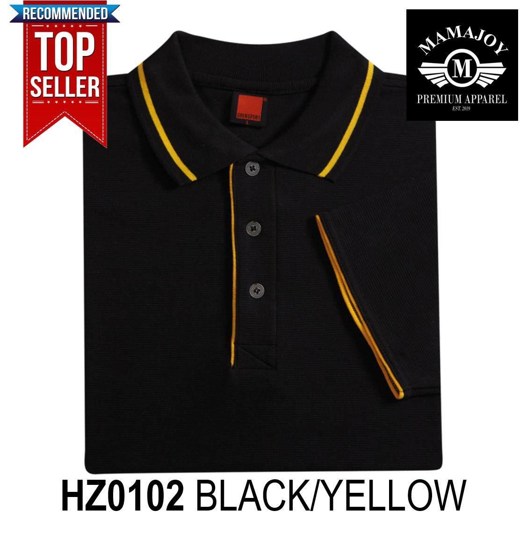 BEST SELLER! Polo Tshirt For Men Women Unisex Summer Fashion Tees T shirt Baju Kemeja Lelaki New! Oren Sport HZ01 Horizon Short Sleeve Polo Collar Tshirt (Colour : Black/Yellow) HZ0102