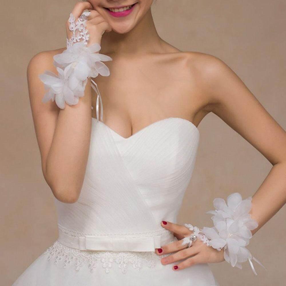 Cô dâu Ren Hoa Găng Tay Cưới Phụ Kiện Cặp Vòng Tay LắC Tay Dây Chuyền Nữ Đảng