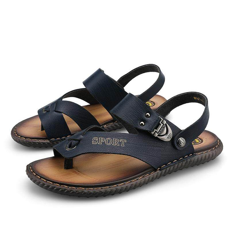 Fashionable men's leather sandals flip-flops breathable men's beach shoes casual shoes outdoor men's sandals PZC420