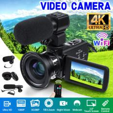 Màn Hình Cảm Ứng HD Siêu Nét 4K WIFI Máy Quay Video Full HD 30MP Camera Quay Phim Tích Hợp Micro Khử Tiếng Ồn Phiên Bản Ban Đêm/Chụp Liên Tục/Ghi Lặp Lại/Màn Hình Xoay 270 °/Thu Phóng Kỹ Thuật Số 18X + 1 Túi Máy Ảnh + 1 Điều Khiển Từ Xa