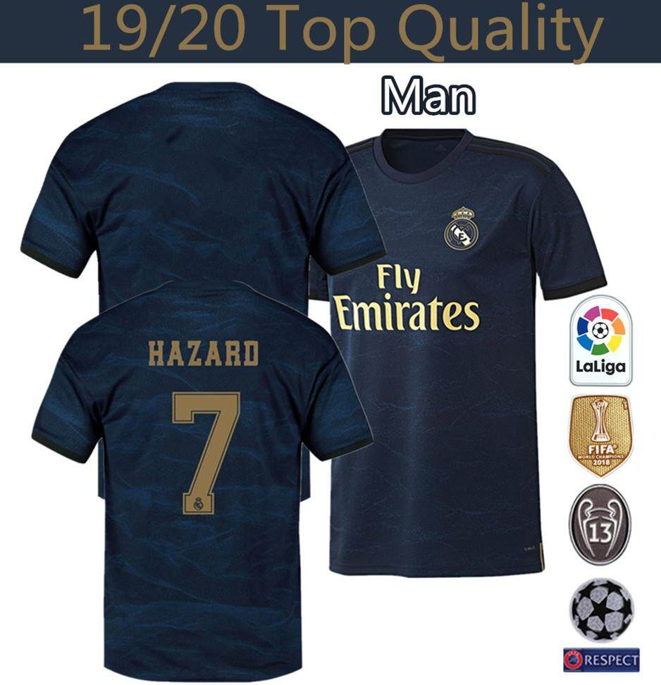 brand new da2bc c7339 Top Quality 19/20 Real Madrid Away Football Jersey Sergio Ramos 4 Hazard 7  Modric 10 Bale 11