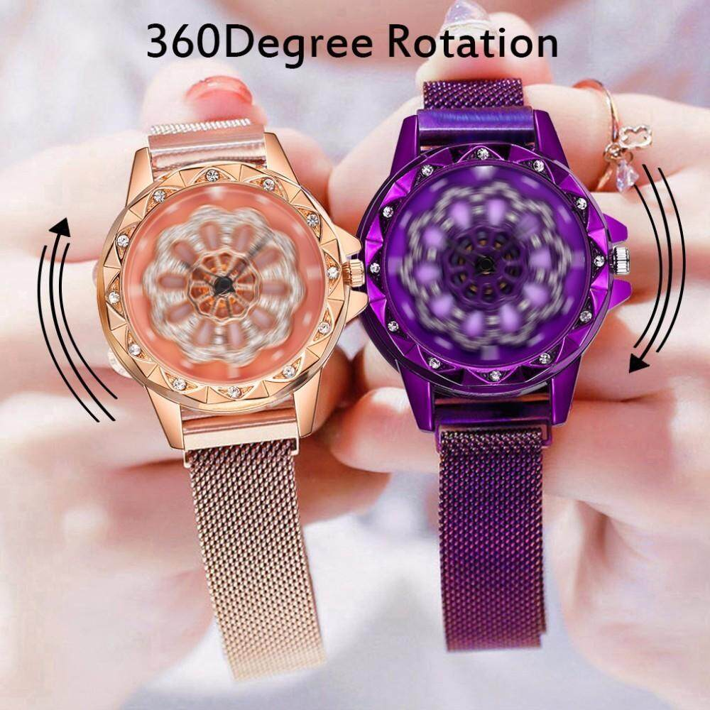 Korea Fashion Women Watch 360° Rotation Quartz Watches Stainless Steel Rose Gold Diamond Dial Magnet Flower Starry Sky Waterproof Wristwatches Malaysia