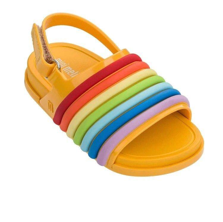 09899cfcd4 2018 New Rainbow Stripes Jelly Sandals Girl Shoes Non-slip Girl Beach  Sandals Melissa Baby Jelly Sandals