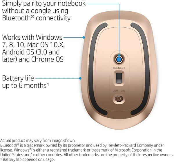 HP Bluetooth Mouse Z5000 Silver BT Mouse Slim Mouse with LED Battery Indicator Light, Ambidextrous Control (No Dongle Required) (W2Q00AA) Malaysia
