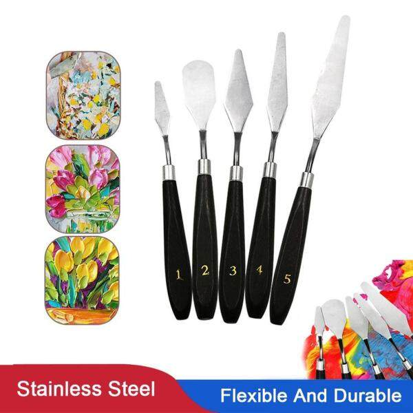 5Pcs Stainless Steel Palette Scraper Spatula Set Mixing Scraper Oil Painting Shove For Artist Oil Painting Tools Kit