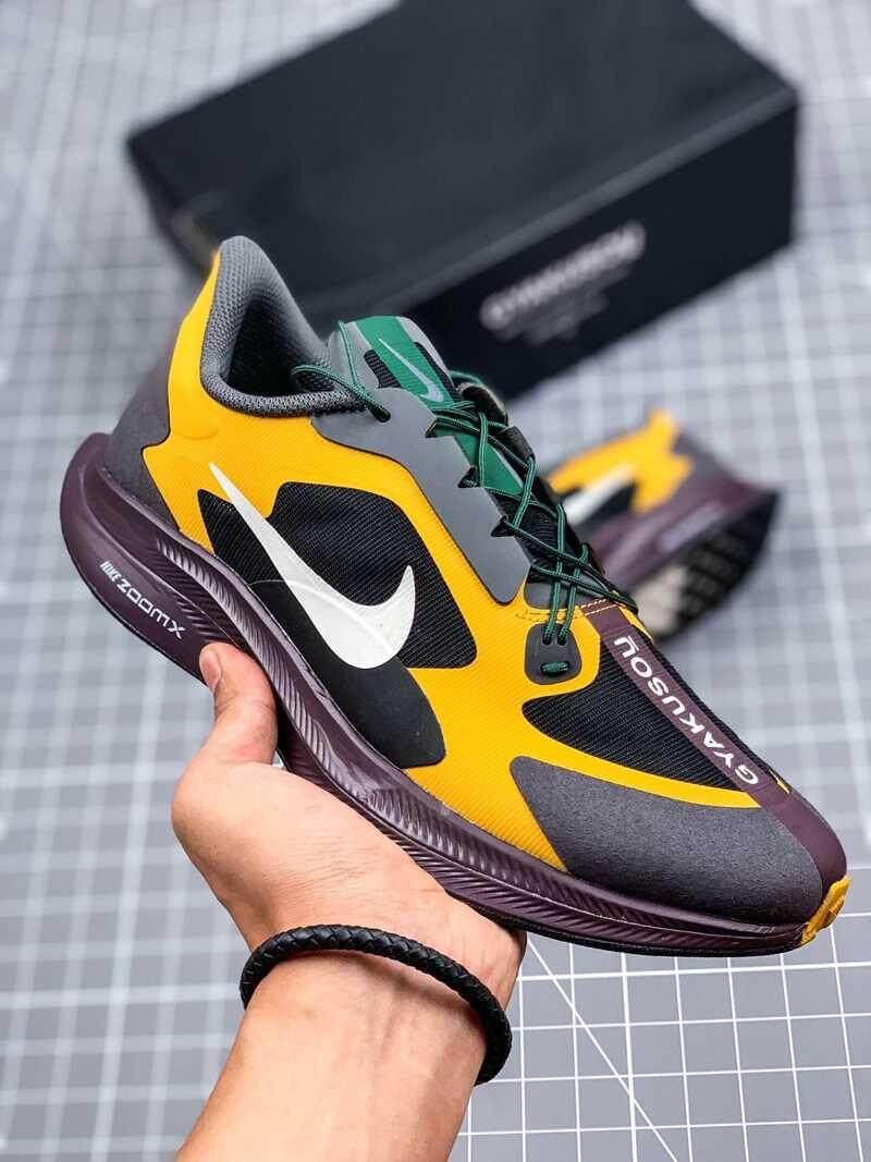 Asli Undercover_Gyakusou X Nike_Zoom_Pegasus 35 Turbo Pria Berlari Sepatu Sneakers Ringan Bernapas Kasual Olahraga Sepatu Kuning/Hitam/ putih BQ0579-700