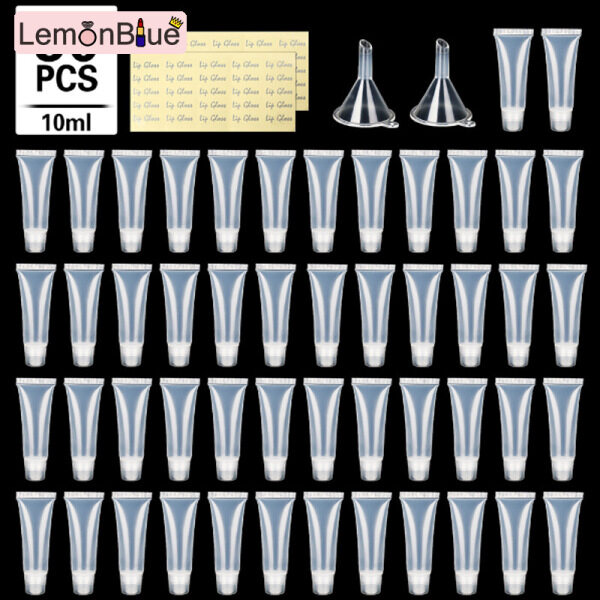 Buy LemonBlue 50Pcs 10ml Empty Lip Glosses Tubes Empty Lip Balm Tubes for DIY Lip Glosses Balm with 2pcs Funnels Singapore
