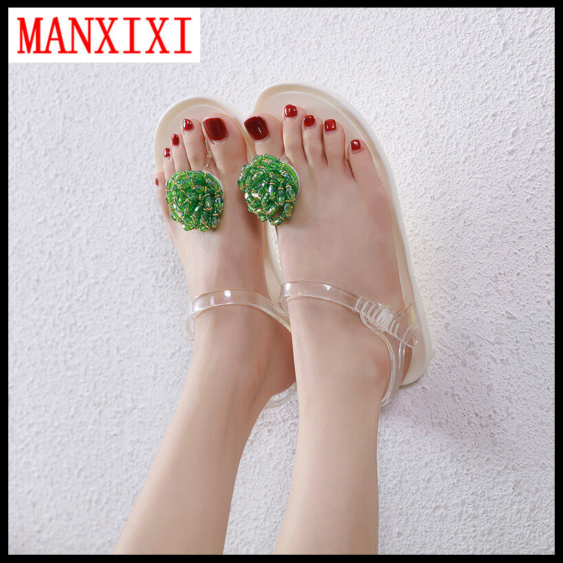 Manxixi Brand Korean Version Beautiful Jelly Flat Sandals Pearl Inlay Shoes For Women (35-40 Size).