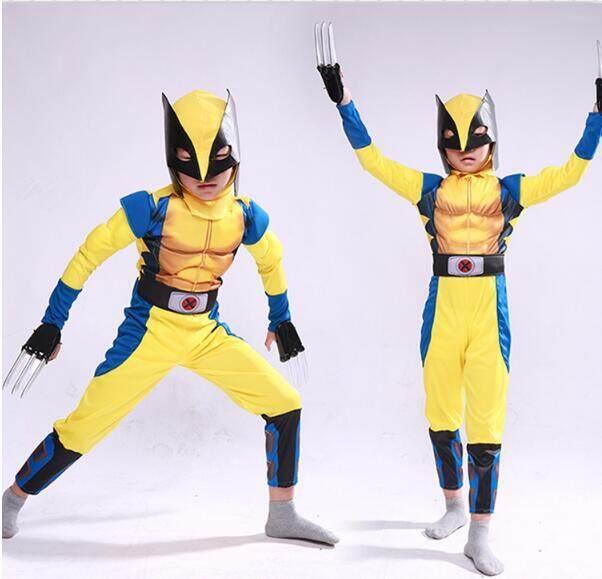 เด็กกล้ามเนื้ออเวนเจอร์กัปตันอเมริกาเครื่องแต่งกาย Wolverine ชุดแต่งกายที่เหลือเชื่อเครื่องแต่งกายฮาโลวีนสำหรับเด็ก By Fashion&beauty.