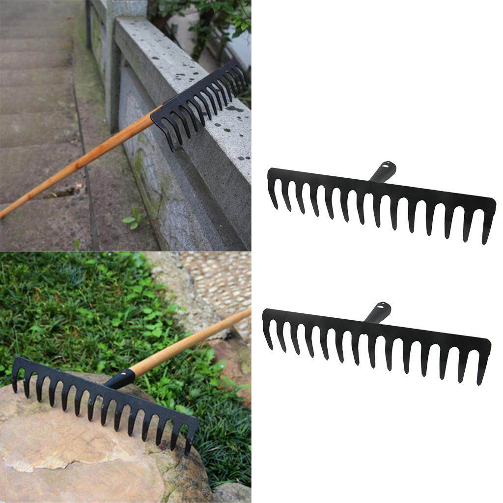 Dolity 2 Pcs 14 Teeth Heavy Duty Steel Metal Rake Head Lawn Leaves Garden