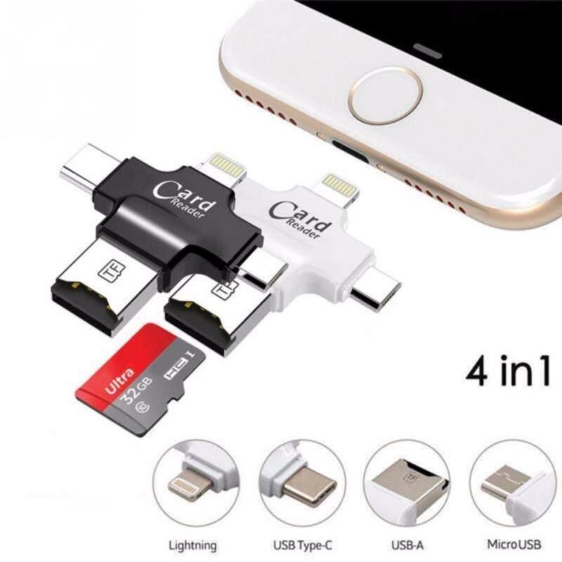 4in1 Thông Minh Đầu Đọc Thẻ Nhớ Micro SD với USB, Micro USB, Type C, đầu Nối Lightning OTG Adapter Dành Cho Mac, Windows iOS/Android (Đen)