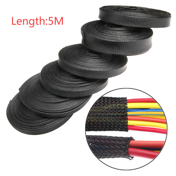 REALVISION Black Gland PET Tight Insulation Protection Cable Wire Braid Sleeving