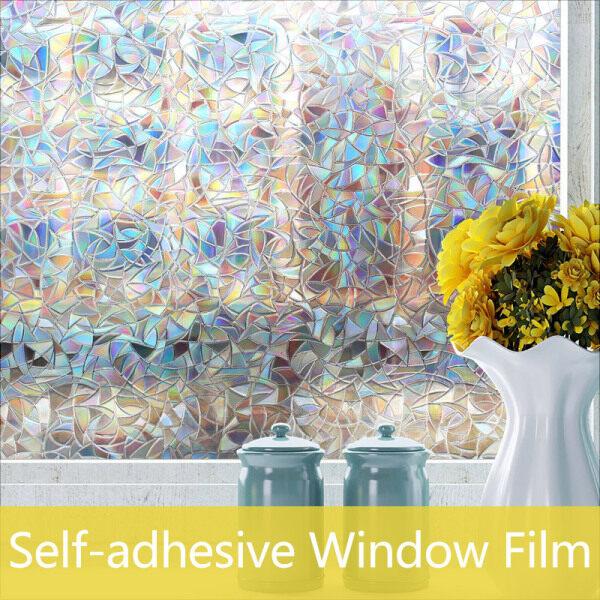 45x200cm Decorative Window Rainbow Film Stained Glass Window Sticker, Window Self-adhesive Vinyl Static Anti UV Glass Tint Film