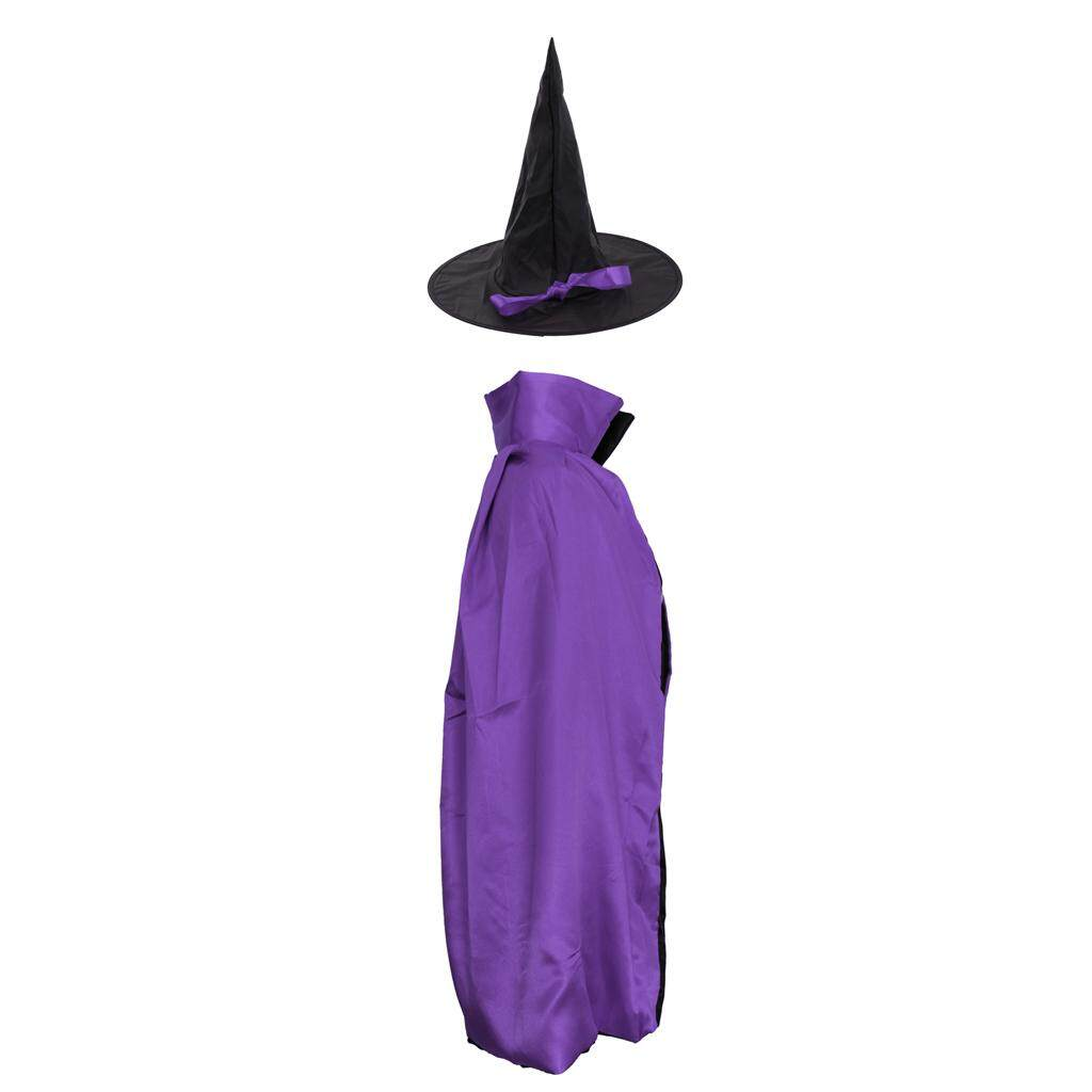 Fenteer Adults Kids Satin Wizard Witch Cloak Cape Hat Halloween Costume