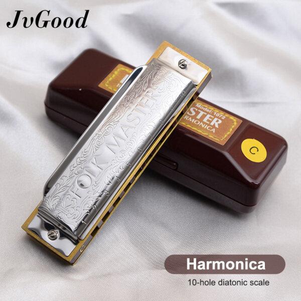 JvGood Harmonica 10 Holes 20 Tone Chromatic Harmonica Mouth Organ Blues Harp Music Instrumentos Key C Musical Instruments