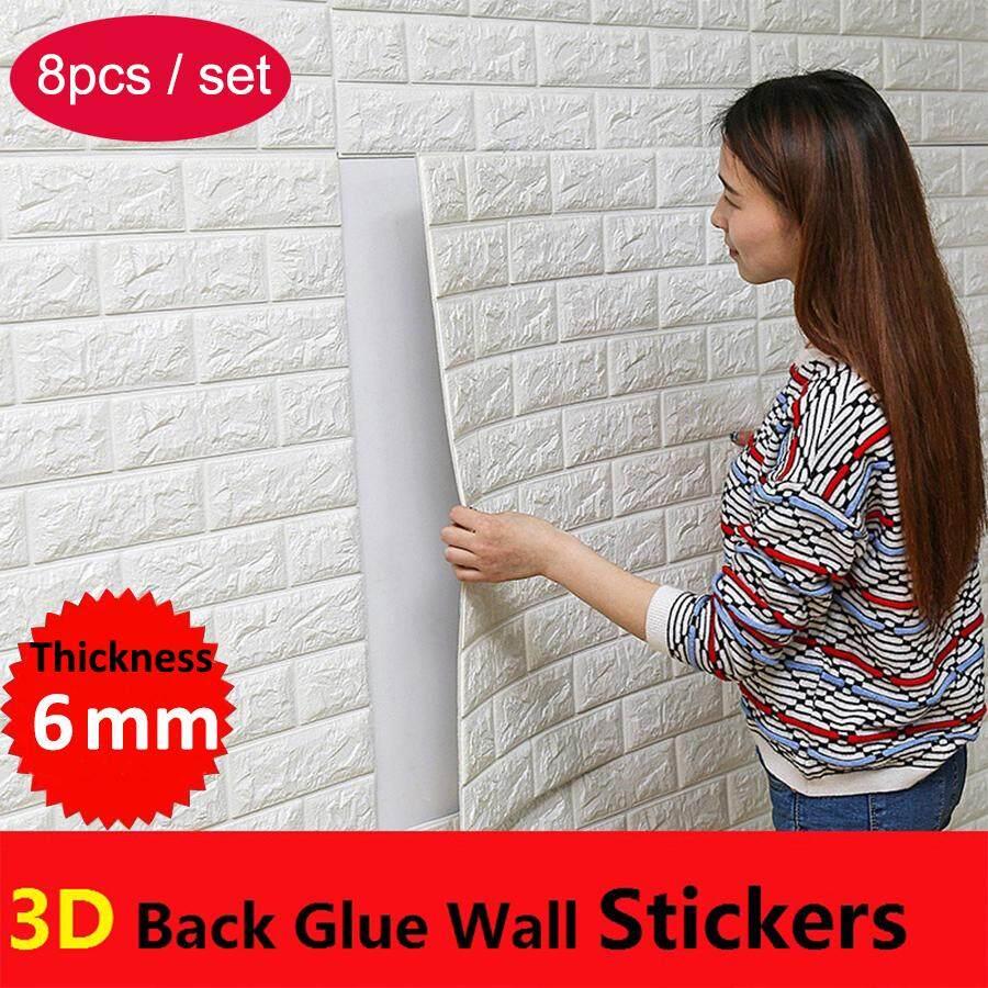 8pcs/set 70x77cm PE Foam 3D Wall Stickers Safety Home Decor Wallpaper DIY Wall Decor Brick Living Room Kids Bedroom Decorative Sticker