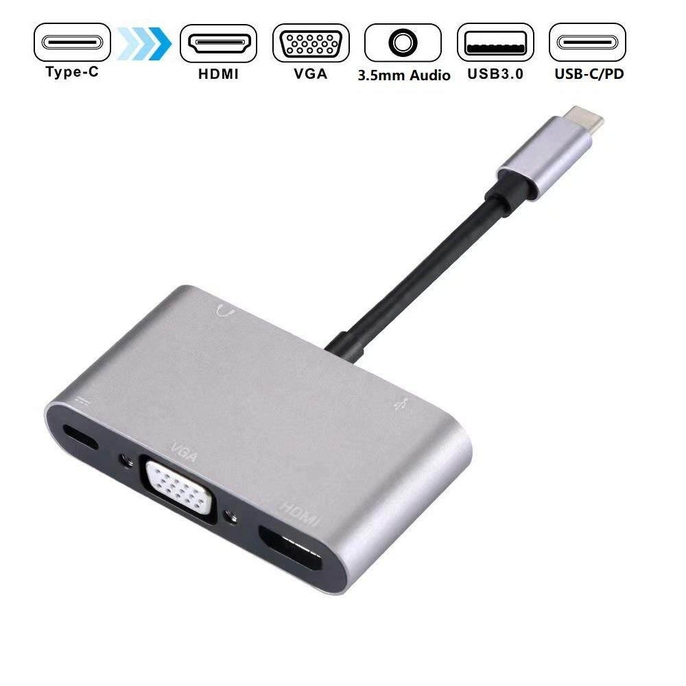 5-In-1 Usb C Dock, dengan 4 K USB-C Ke HDMI, tipe-C untuk VGA, USB 3.0 Port, 3.5 Mm Port Audio dan Port Pengisian Daya untuk MacBook Chromebook.