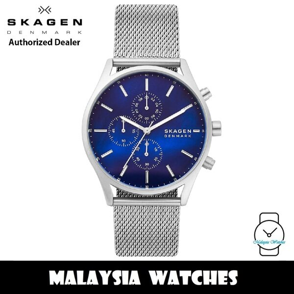 (100% Original) Skagen SKW6652 Holst Quartz Chronograph Blue Mother of Pearl Dial Stainless Steel Mesh Strap Mens Watch Malaysia