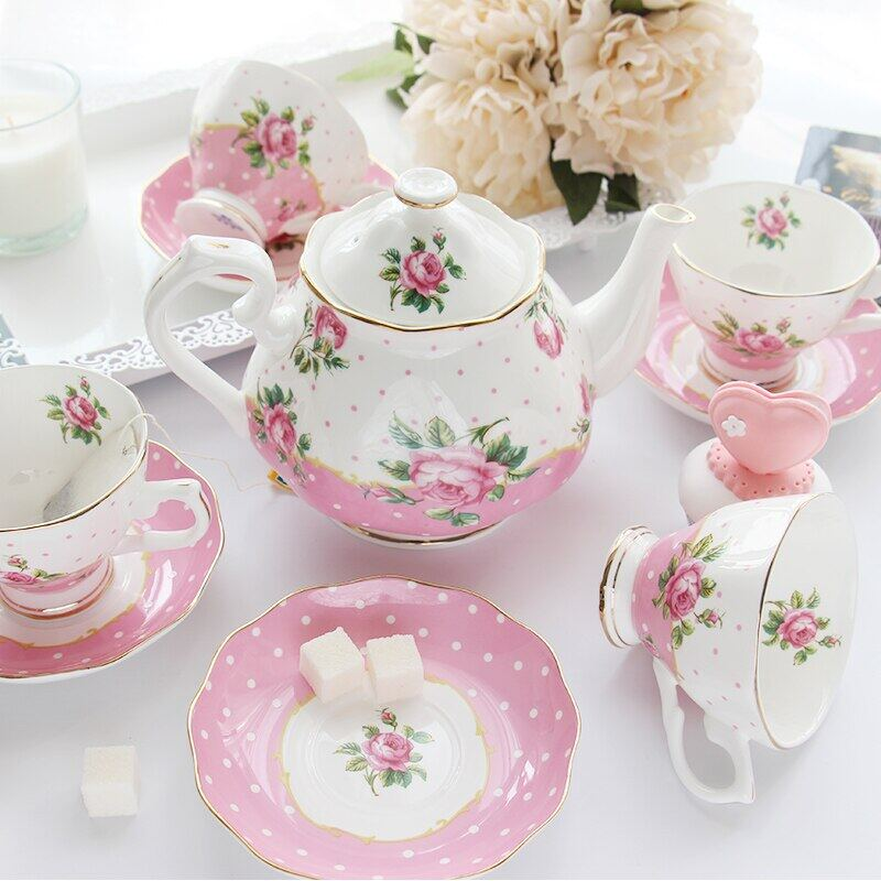 Coffee Tea Sets Bone China Porcelain Coffee Cup Set Creative Gift British Tea Cup Sets 1 Pot And 4 Coffee Cups Lazada Singapore