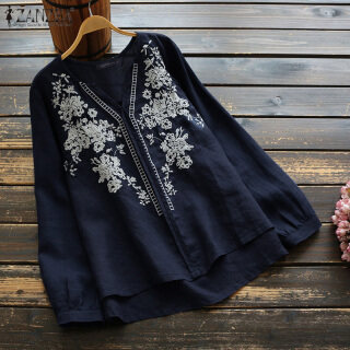 ZANZEA Áo Thêu Cổ Chữ V Dài Tay Mùa Hè Cho Nữ Áo Tunic Cotton Áo Cánh thumbnail
