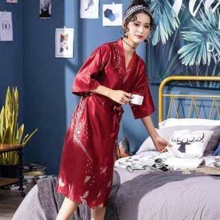 IHOME Cuộc Sống Áo Choàng Tắm Silk Nữ Đồ Ngủ, Giảm Giá Thời Trang Chất Lượng Cao Home Áo Choàng Tắm Áo Choàng Tắm In Hình Lá Thoải Mái Rộng Cỡ Lớn Cho Nữ, 2021 Hot New thumbnail