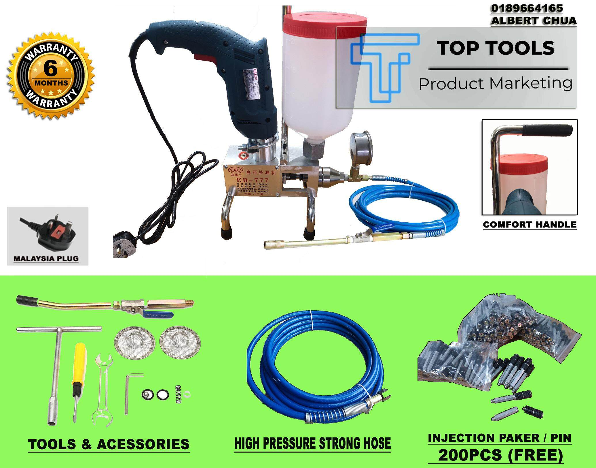 Electric Pu Injection Pump Polyurethane Foam Grouting Leak Steel Machine (Free 200pcs Wall Plug/Filling Pin)