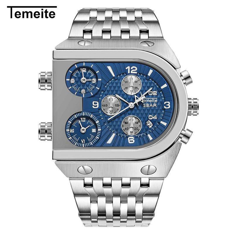 Gs Temeite Brand Watch Fashion Military Three-time Zone Multi-function Calendar Steel Strip Quartz Watch Ds-1 Malaysia