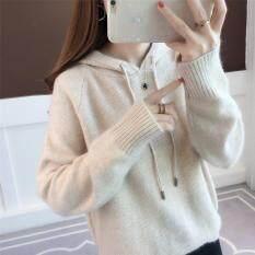 Áo hoodie chất liệu len dệt kim dành cho nữ phong cách Hàn Quốc