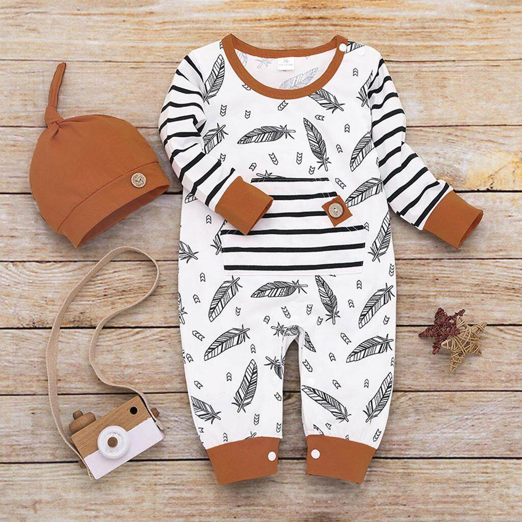 32f2c73905169 Dakeres Infant Baby Girl Boy Feather Striped Romper Jumpsuit with Pocket  Clothes Hat Set
