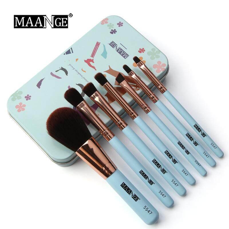 Bộ Cọ trang điểm 7 cái/bộ Mini Du Lịch bàn chải Bộ mỹ phẩm Phấn Nền Môi Beauty De pinceis de maquiagem với hộp kim loại