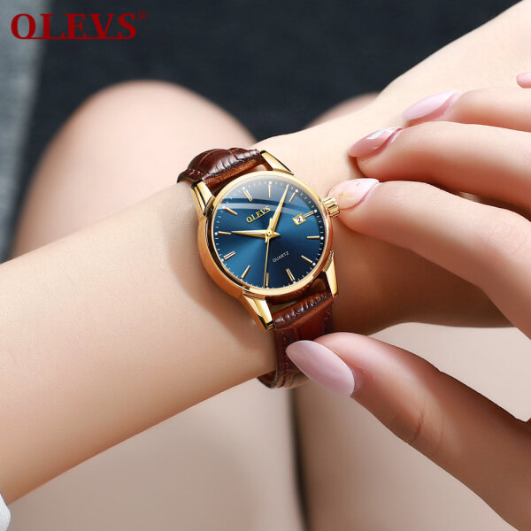 Đồng hồ nữ dây da mạ vàng tinh tế cao cấp xu hướng cổ điển nổi bật Olevs bán chạy