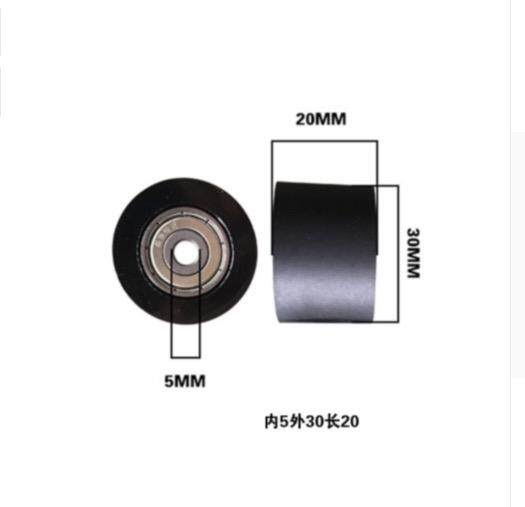 2pcs/lot Thickness:20mm inner hole:5mm Rubber-coated Bearing 626 Polyurethane Rubber-coated Roller Press Wheel pulley