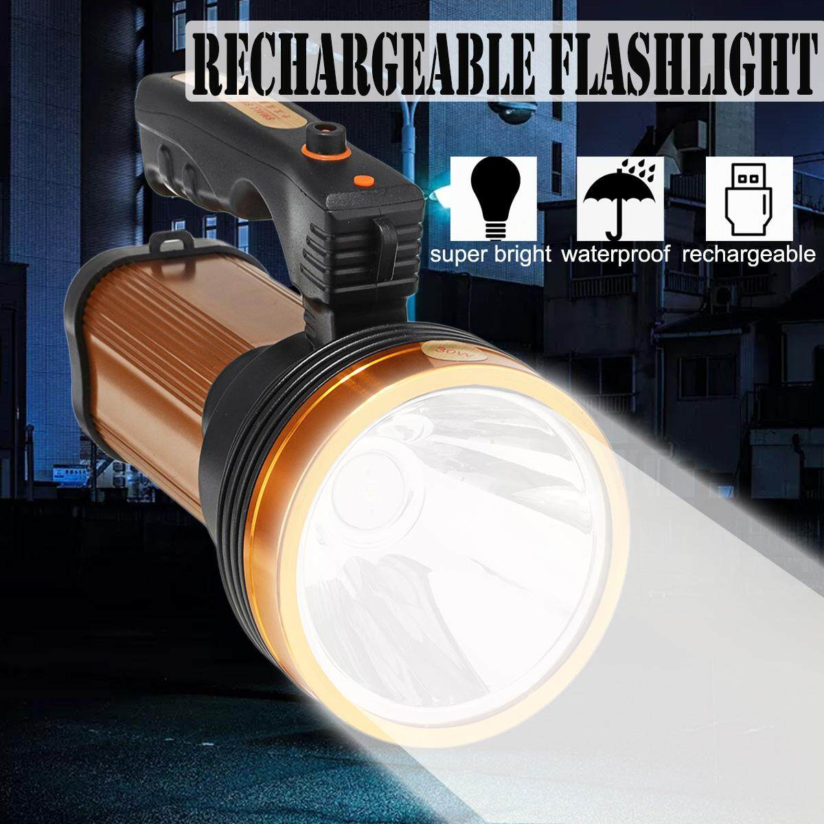 【Free Shipping + Flash Deal】Durable Super Bright LED Searchlight Spotlight Rechargeable Flashlight USB