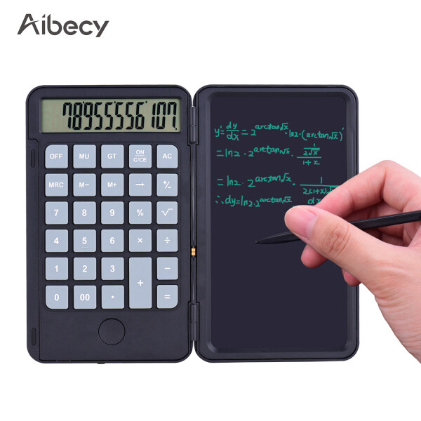 Aibecy Portable Calculator & LCD Writing T-ablet Digital Drawing Pad 12 Digits Display with Stylus Pen Erase Button Lock Function for Children Adults Home Office School Use