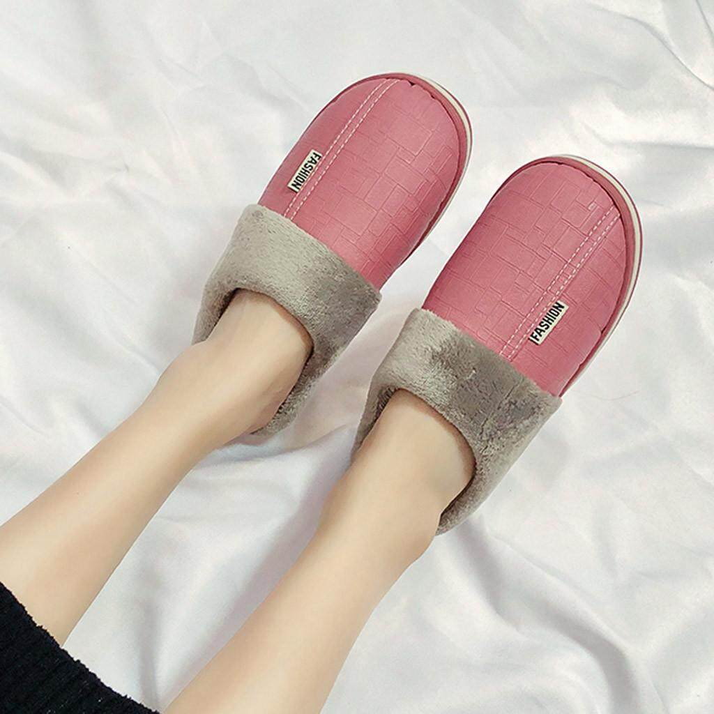 {HY @STORE} Women's Large Size Waterproof Home Plus Velvet Warm Shoes Cotton Slippers