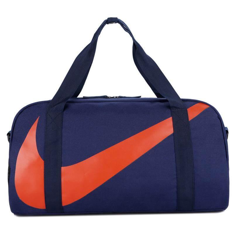 Nike_durable ความจุมากผ้าใบกระเป๋าใส่เสื้อผ้ากีฬา Gym Camping ขนาดใหญ่ไหล่กระเป๋าสะพายข้างกระเป๋าเดินทางสุดสัปดาห์สำหรับผู้ชายและผู้หญิงแบบพับได้-Intl.