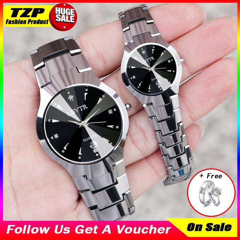 [With 2 Pcs Couple Rings]TZP Store 2 Pcs Hot Slae LSVTR Couple Watches Korean Version Luxury Waterproof Calendar Classic Fashion Casual Quartz Wrist Watches Rustproof Stainless Steel Men Women Wristwatches Malaysia
