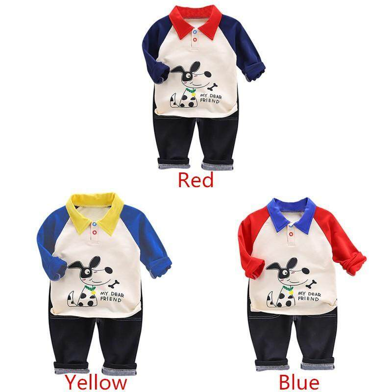 Spring/Autumn Casual Baby Long Sleeve Cartoon Printing Top + Trousers BW