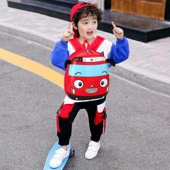 3D รถบัสการ์ตูนเด็กอนุบาลกระเป๋านักเรียนเด็กวัยหัดเดินกระเป๋าสะพายหลังสำหรับชายหญิง