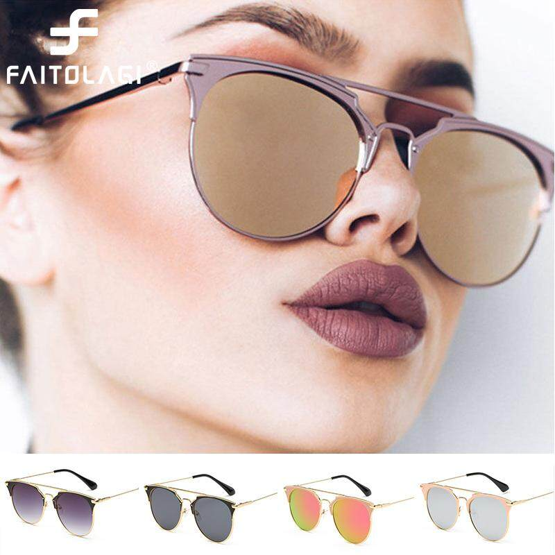 c2ed81d887 Luxury Vintage Round Cat Eye Sunglasses For Women Female Ladies Round  Sunglass Mirror