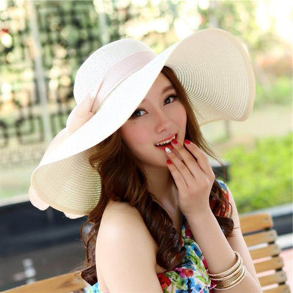873856d7 Laz Gym Korean Covered Bow Visor Big Straw Hat Collapsible Summer Sun Hat  Female Sunscreen Beach